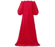 Schulterfreie Robe aus Schnurgebundener Spitze mit Satinbesatz