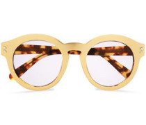 Round-frame Gold-tone Acetate Sunglasses Gold Size --