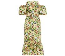 Aleila Schulterfreies Midikleid aus Baumwollpopeline mit Floralem Print