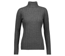 Ribbed Cashmere Turtleneck Sweater Grau