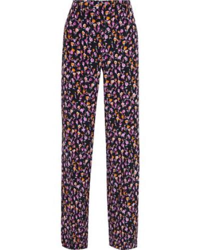 Satin-trimmed Floral-print Silk-crepe Wide-leg Pants Black