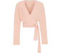 Cropped Crepe-jersey Wrap Top
