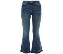 Woman Faded High-rise Kick-flare Jeans Light Denim