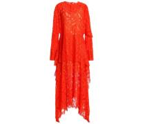 Asymmetric layered lace midi dress