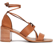 Lace-up Snake-effect Leather Sandals