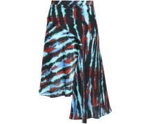 Asymmetric Tie-dyed Satin Mini Skirt
