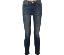 Woman The Stiletto Cropped Distressed Mid-rise Skinny Jeans Mid Denim