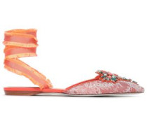 Embellished Leather And Lace Point-toe Flats Coral