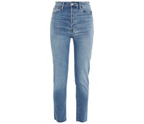 90s High Rise Ankle Crop Faded High-rise Slim-leg Jeans