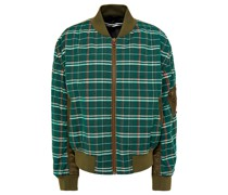 Shell-paneled Checked Wool And Cotton-blend Bomber Jacket
