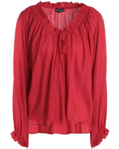 Bowly Gathered Voile Blouse Crimson