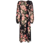Louise Gathered Floral-print Crepe Midi Dress
