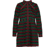 Appliquéd Printed Cotton And Silk-blend Gauze Mini Dress Schwarz