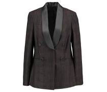 Satin-trimmed Checked Wool-blend Blazer Grau