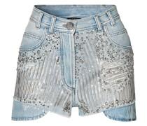 Embellished Distressed Denim Shorts