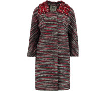Romy Embellished Metallic Tweed Coat Bordeaux