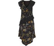 Emi Ruffled Printed Crepe De Chine Midi Dress