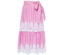 Belted Tiered Lace-trimmed Embroided Linen Midi Skirt