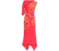 Asymmetric Appliquéd Crepe Gown