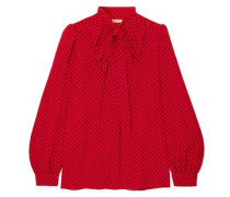 Pussy-bow Polka-dot Silk-georgette Blouse Crimson