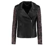 Gohana Suede-paneled Leather Biker Jacket Schwarz