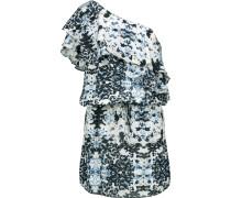 One-shoulder Ruffled Printed Silk Mini Dress Weiß