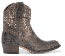 Deborah Studded Distressed Leather Ankle Boots Gray