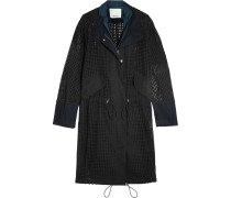 Oversized Satin-trimmed Broderie Anglaise Cotton Parka Schwarz