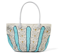 Canasta Leather-trimmed Crocheted Cotton Tote Türkis