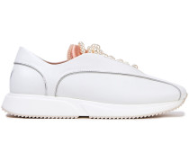 +yang Mi Faux Pearl-embellished Leather Slip-on Sneakers