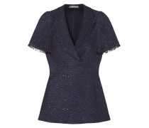 Woman Frayed Sequin-embellished Tweed Peplum Top Navy
