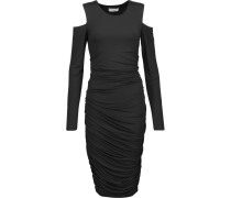 Cutout Ruched Stretch-jersey Dress Schwarz