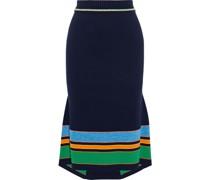 Fluted Striped Cotton-blend Skirt