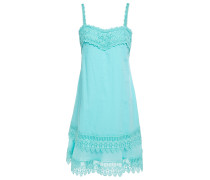 Volantes Crocheted Lace-trimmed Cotton-blend Voile Mini Dress