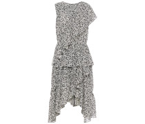 Asymmetric Ruffled Floral-print Jacquard Dress