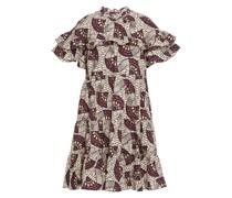 Bedrucktes Kleid aus Baumwollpopeline mit Rüschen