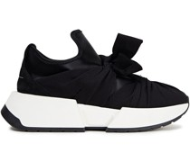 Suede-trimmed Bow-detailed Satin Sneakers