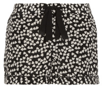 Lilian Printed Washed-silk Pajama Shorts Schwarz