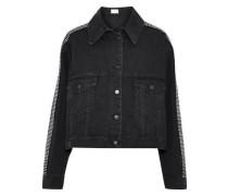 Cropped Crystal-embellished Denim Jacket Black