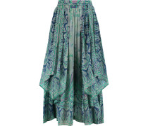 Draped Printed Crinkled-silk Midi Skirt Himmelblau
