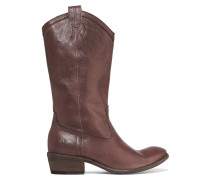 Carson Textured-leather Boots Dunkelbraun
