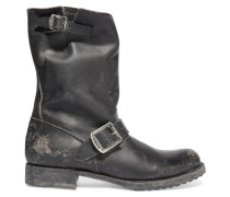Veronica Shortie Distressed Leather Boots Schwarz