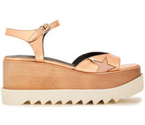 Woman Indium Elyse Star Cutout Faux Mirrored-leather Platform Sandals Rose Gold