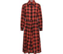 Roanne Lace-trimmed Checked Crepe Midi Dress Brick