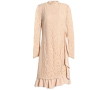 Wrap-effect Ruffle-trimmed Corded Lace Dress