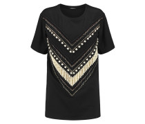 Embellished Cotton-jersey T-shirt Schwarz