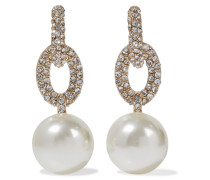 22-karat Gold-plated, Faux Pearl And Crystal Earrings