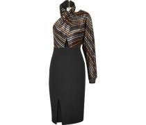 Victoria metallic striped silk-blend lamé and crepe dress