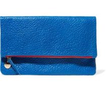 Fold-over textured-leather clutch