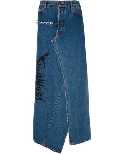 Distressed Printed Denim Maxi Skirt Mid Denim